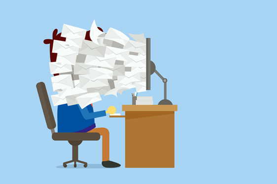 Many E-mail out of computer screen to worker face which he neede